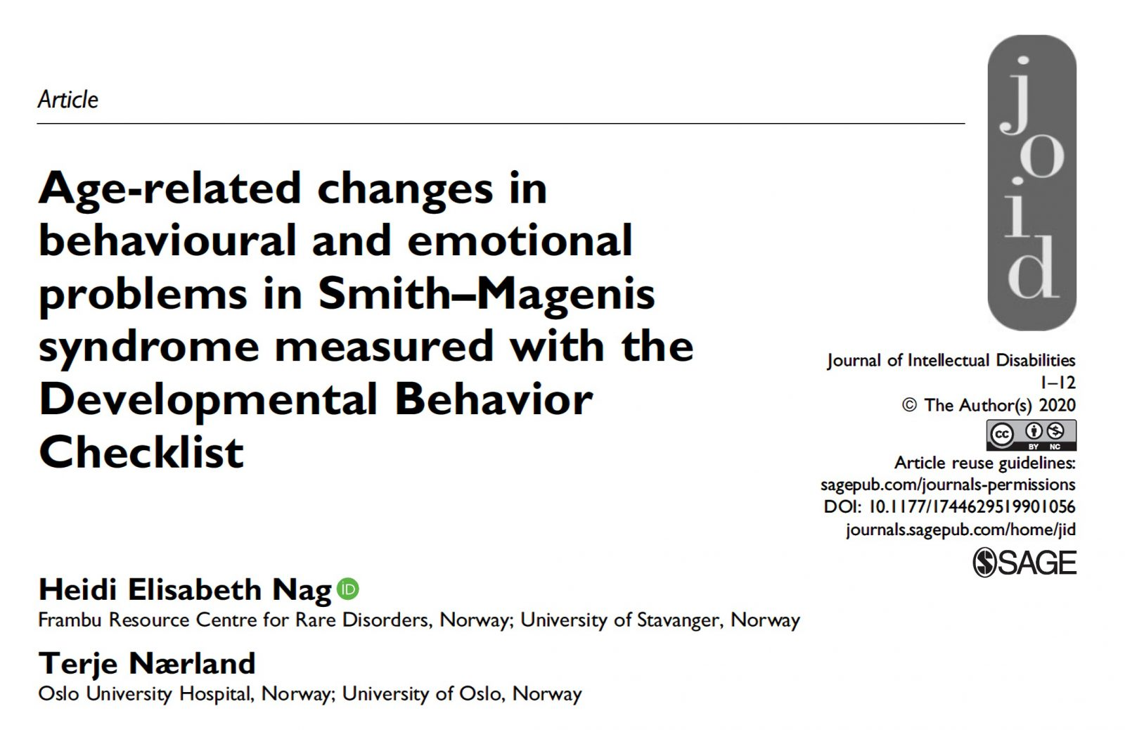 Perfil emocional y conductual del Smith Magenis relacionado con la edad